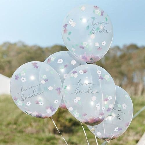 Team Bride Hen Party Flower Confetti Filled Hen Party Balloons x 5