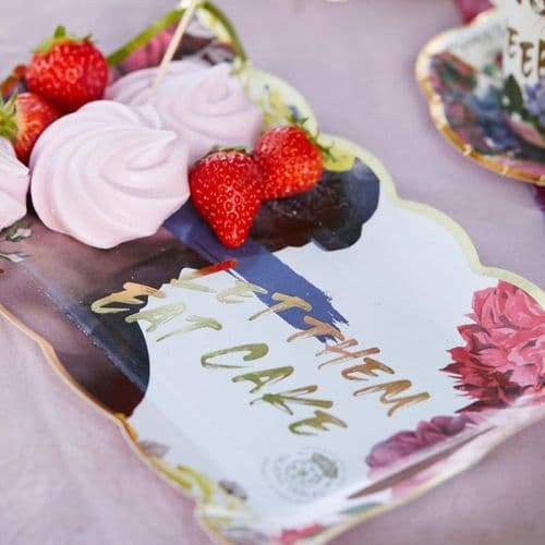 Truly Scrumptious Floral Food Serving Platter Set of 4