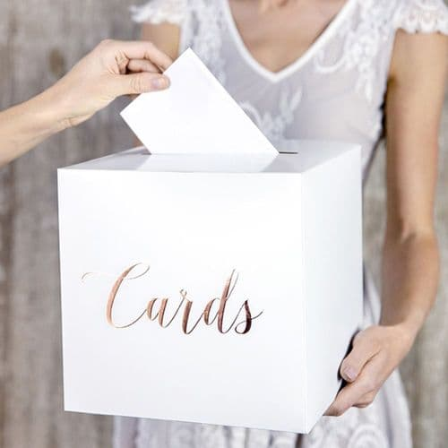 Wedding Card Postbox White with Rose Gold Lettering 'Cards'