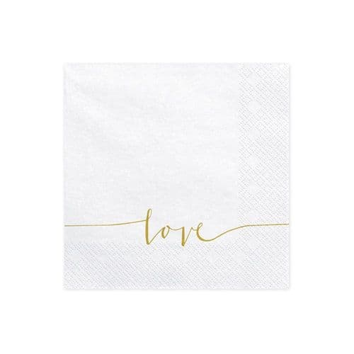 Wedding Paper Napkins Love 33x33cm / 3 ply White and Gold x 20