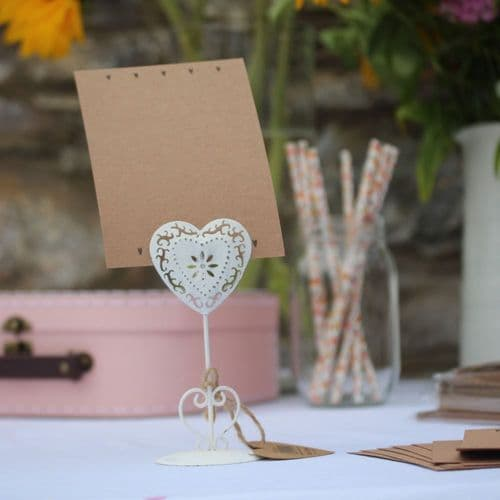 Wedding Table Name Blank Cards Heart Kraft Cards x 8 Rustic