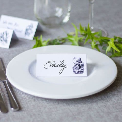 WHITE Alice in Wonderland Place Cards Set of 8