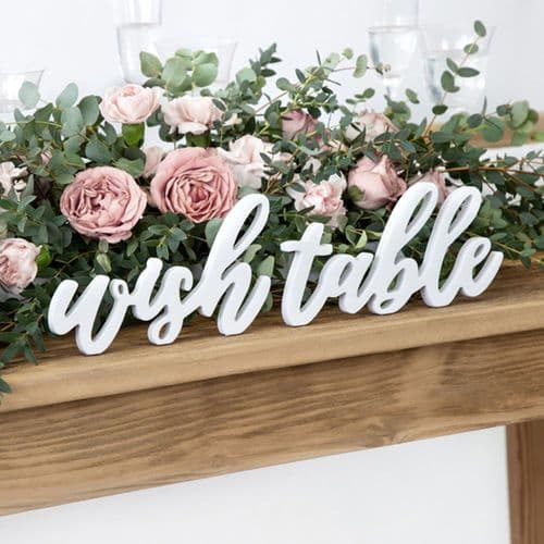 White Wooden Wish Table Sign, Rustic Wedding Sign, Wedding Decoration