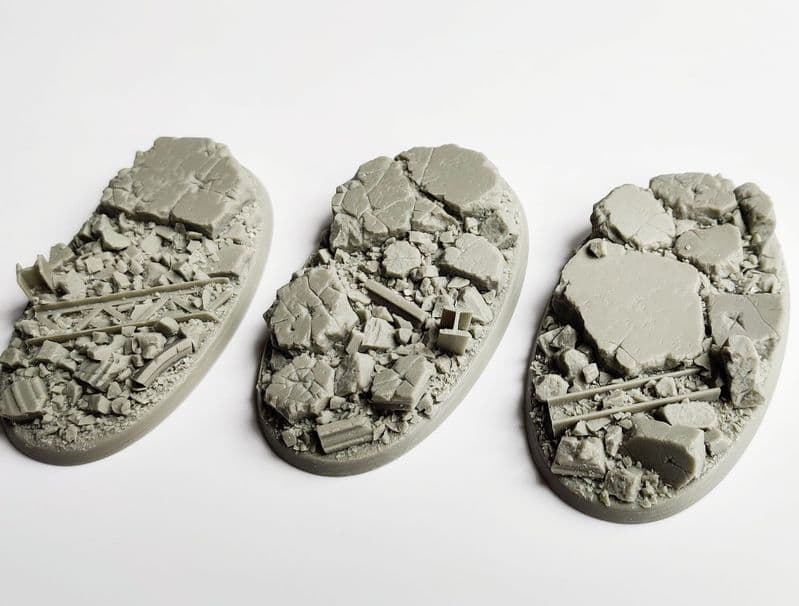 90mm Oval Urban Rubble bases (3)