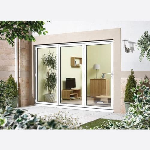 AluVu External White 6ft Pre-Finished Aluminium Folding Sliding Patio Doors - Left Opening