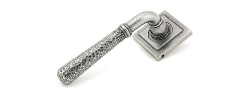 Anvil Pewter Hammered Newbury Lever on Rose Set (Square Rose)