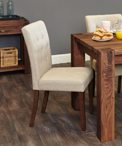 Baumhaus Walnut Flare Back Pair Of Dining Chairs - Biscuit Colour