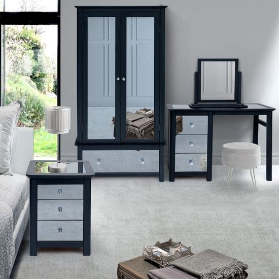 Core Products Ayr Carbon Printed Mirrored Bedroom Furniture