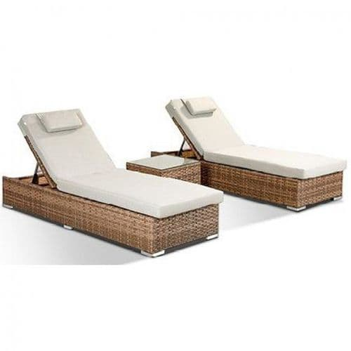 Creole Pair Of Luxury Brown Rattan Sunloungers With Sidetable