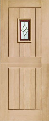 External Oak Chancery Stable Door Triple Glazed With Brass Caming
