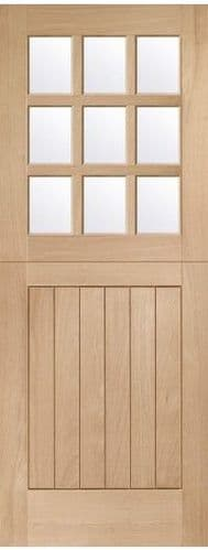 External Oak Stable Door 9L Glazed With Clear Glass