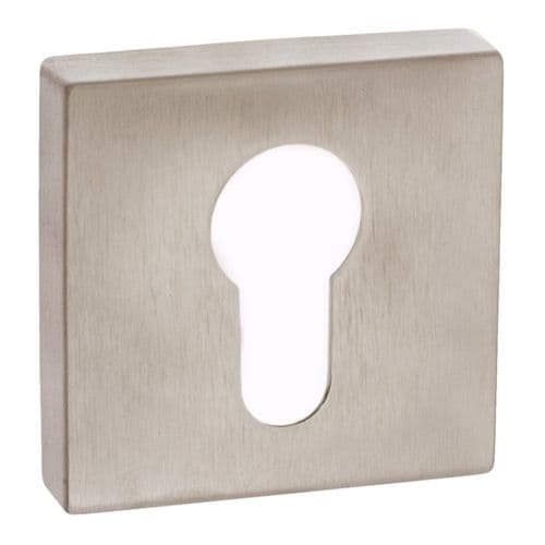 Forme Pair Of Euro Escutcheon On Square Rose In Satin Nickel