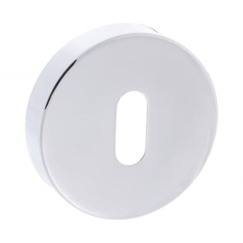 Forme Pair Of Key Escutcheon On Round Rose In Polished Chrome