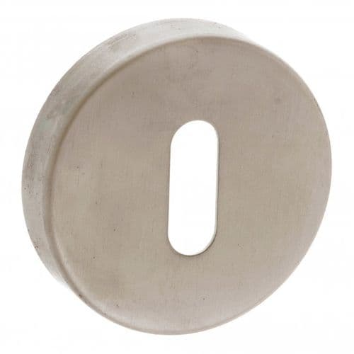Forme Pair Of Key Escutcheon On Round Rose In Satin Nickel