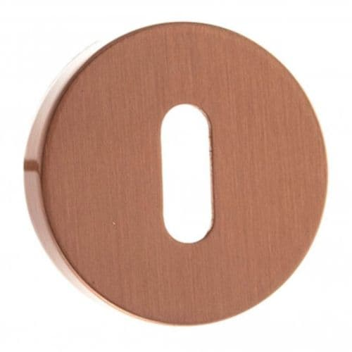 Forme Pair Of Key Escutcheon On Round Rose In Urban Satin Copper