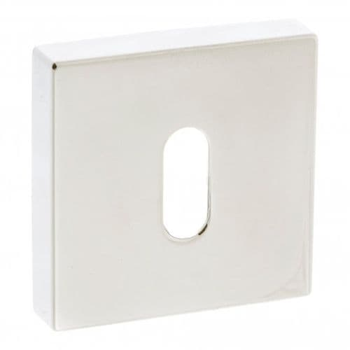 Forme Pair Of Key Escutcheon On Square Rose In Polished Nickel