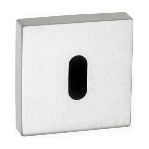 Forme Pair Of Key Escutcheon On Square Rose In Satin Chrome