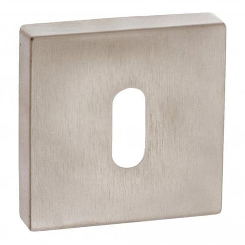 Forme Pair Of Key Escutcheon On Square Rose In Satin Nickel