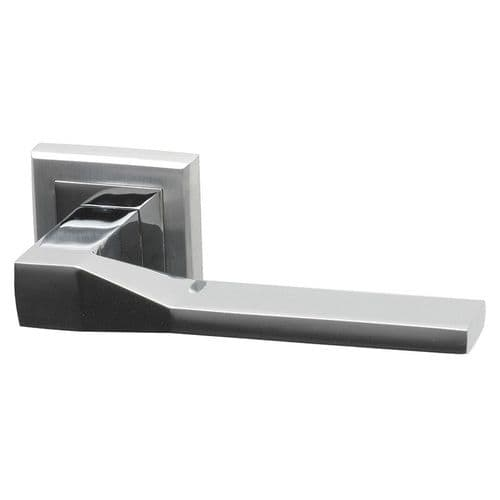 Intelligent Hardware Canterbury Lever in Polished Chrome / Satin Chrome Plated on Square Rose