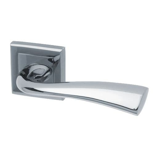 Intelligent Hardware Scimitar Lever in Polished Chrome on Square Rose