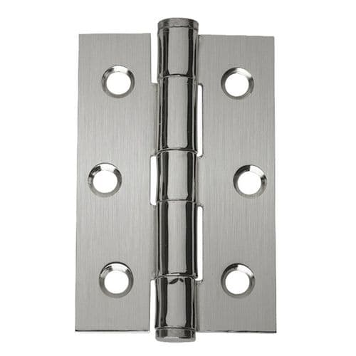 Intelligent Hardware Steel Button Tipped Hinge in Satin Chrome - 75mm x 50mm