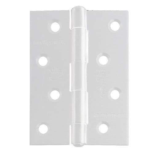 Intelligent Hardware Strong Steel Butt Hinge in White Powder Coated - 100mm x 75mm
