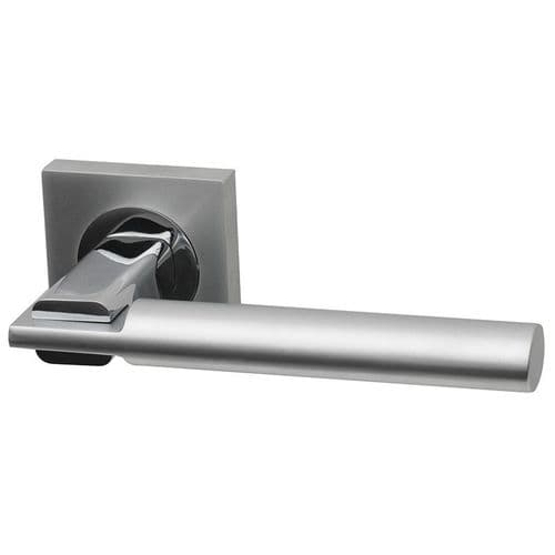 Intelligent Hardware Tetra Lever In Matt Chrome on Square Rose Door Handle
