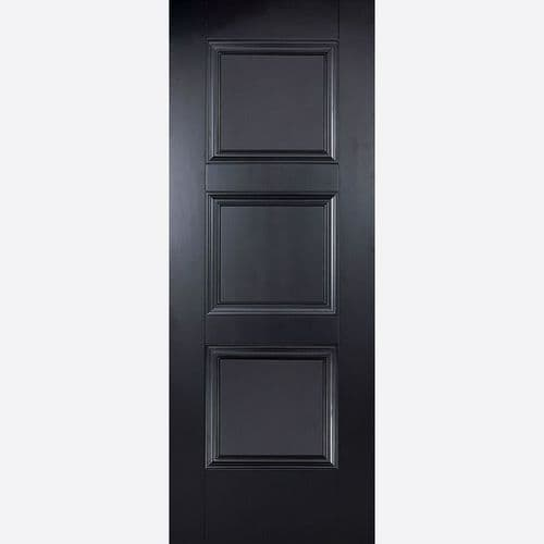 Internal Amsterdam Black Fire Rated Door Panelled