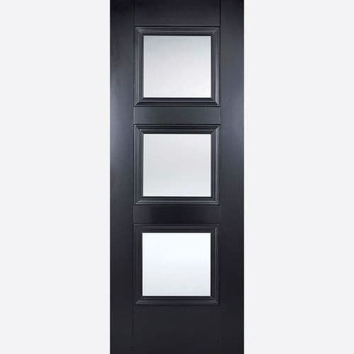 Internal Black Amsterdam Glazed Door With Clear Glass