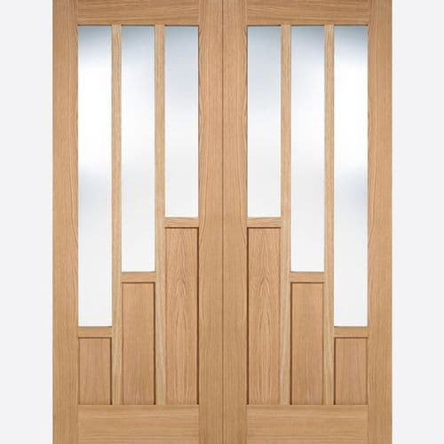 Internal Oak Coventry Clear Glazed Pair Of Doors Pre-Finished