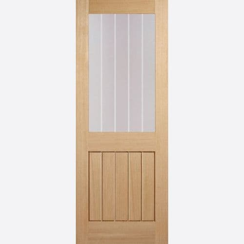 Internal Oak Mexicano Glazed Fire Door Clear Glass With Frosted Lines