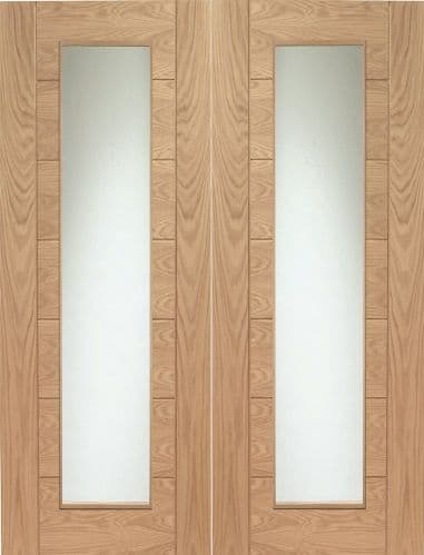 Internal Oak Palermo Rebated Pair Of Doors With Clear Glass
