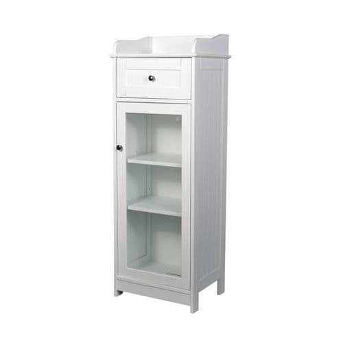 LPD Alaska White Glass Front Storage Unit