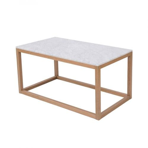 LPD Harlow Oak-White Marble Top Coffee Table