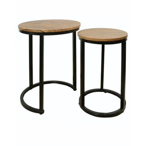 LPD Java Nest Tables Black Frame-Distressed Tops