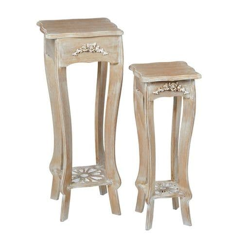LPD Provence Set Of 2 Plant Stands Weathered Oak