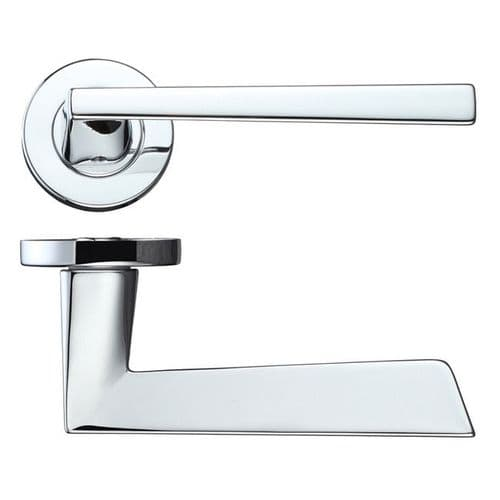 Lyra Polished Chrome Lever On Rose Door Handle Pack With Privacy