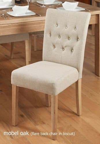 Mobel Oak Flare Back Upholstered Pair Of Dining Chairs - Biscuit