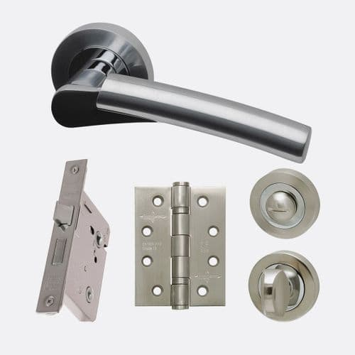 Neptune Lever On Rose Polished and Satin Chrome Privacy Door Handle Pack