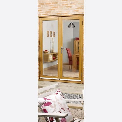 Nuvu External Oak French Patio Door Set 4ft 2090x1190mm Fully Finished