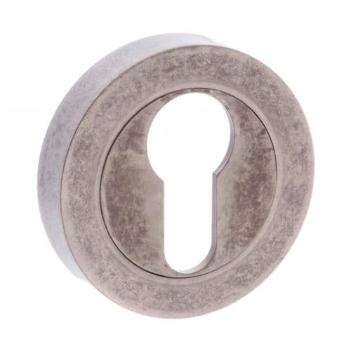 Old English Pair Of Euro Escutcheon On Round Rose In Distressed Silver