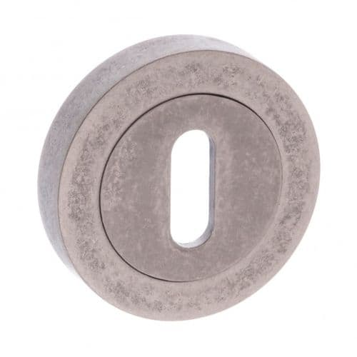 Old English Pair Of Key Escutcheon On Round Rose In Distressed Silver