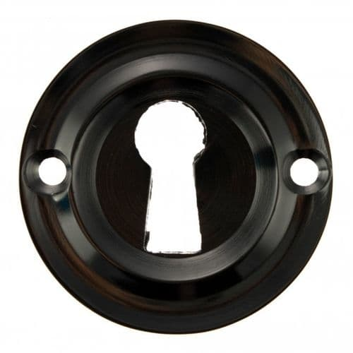 Old English Pair Of Open Key Escutcheon On Round Rose In Black Nickel