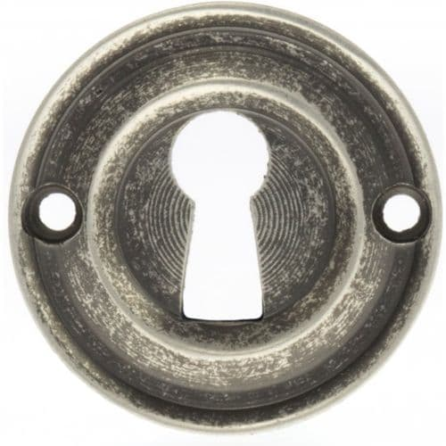 Old English Pair Of Open Key Escutcheon On Round Rose In Distressed Silver