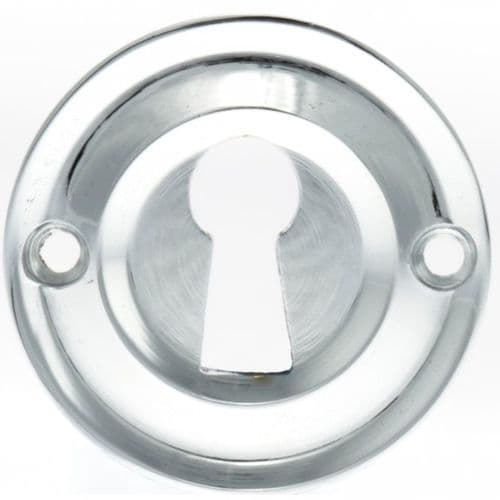Old English Pair Of Open Key Escutcheon On Round Rose In Polished Chrome