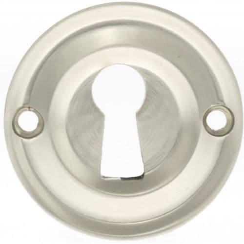 Old English Pair Of Open Key Escutcheon On Round Rose In Satin Nickel