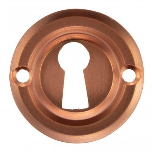 Old English Pair Of Open Key Escutcheon On Round Rose In Urban Satin Copper