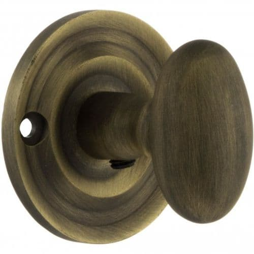 Old English WC Turn And Release Knob Style On Round Rose In Matt Antique Brass