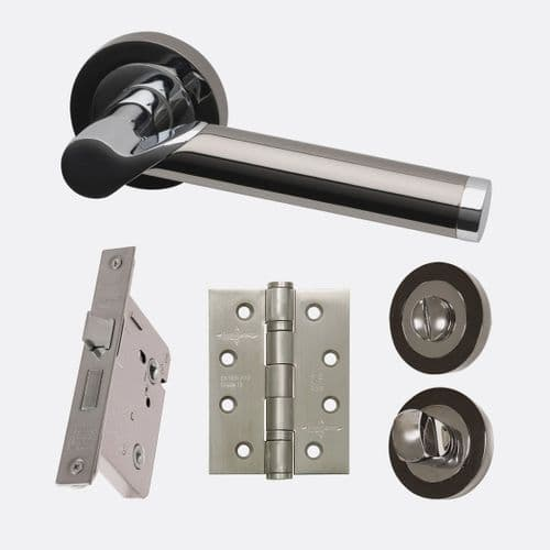 Polaris Lever On Rose Polished Chrome & Black Privacy Door Handle Pack