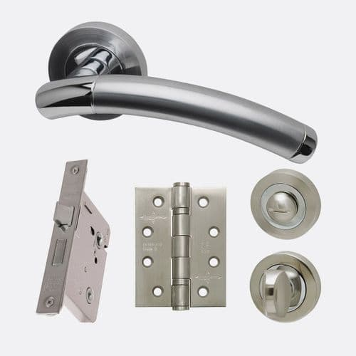 Saturn Lever On Rose Polished & Satin Chrome Privacy Handle Pack